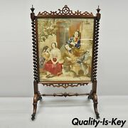 Antique 19th C Rosewood And Figural Needlepoint Victorian Spiral Carved Firescreen