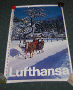 Vintage 1960s Lufthansa Airlines Poster Sleigh Ride