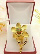 Vintage 18k Solid Yellow Gold Flower Branch Pin Emerald Diamond-rm25