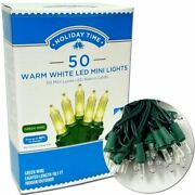 Holiday Time 50 Led Warm White Mini Lights Green Wire Set Christmas Party Decor