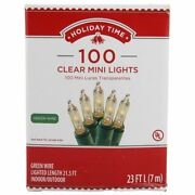Holiday Time 100 Clear Mini Lights Green Wire String Christmas Tree Party Outdoo