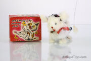 Vintage Mechanical Jumping Pussy Cat With Butterfly Windup Toy
