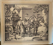 Antique 19th Century Hand Drawn Pen And Ink Of Beer Wagon, New York Origin