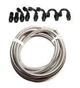 12ft An8 Stainless Steel Braided Line+8pcs An8 Black Swivel Fitting Adapters