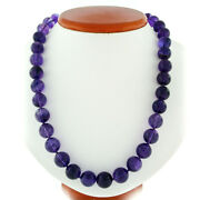 505ctw Round Bead Amethyst 24 Long Strand Necklace W/ 14k Gold Pearl Ruby Clasp
