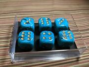 Chessex Vortex Teal With Gold 20mm 6x D6s Larger Size Dice
