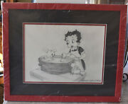 Myron Waldman Original Betty Boop And Pudgy Graphite Drawing Signed With Coa