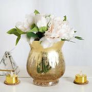 8 Gold 6 Tall Crackle Glass Candle Holders Vases Wedding Party Centerpieces