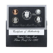 1997 Us Mint Silver Proof Set 90 Silver Kennedy Black Box - Ogp 5 Coins