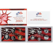 2005 Us Mint Silver Proof Set 90 State Quarters Kennedy - Ogp 11 Coins