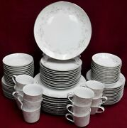 Sone China Mealy 3310 Pattern 84pc Set Cup/saucer/dinner/salad/bread/fruit/soup