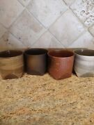 Set Of 4 Japanese Tea Cups Handmade Rustic Brown Speckled Clay. And Glazed Signed