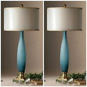Two Alaia Etched Frosted Glass Table Lamp Crystal Foot Brass Details Uttermost