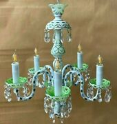 Rare Vintage Bohemian Opaque White Cut To Green Floral Accents 5 Arm Chandelier