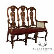 Antique Dutch Rococo Style Carved Walnut Triple Back Settee