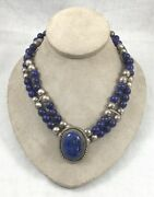 Great John Chavez Navajo Native American Lapis And Sterling Choker/necklace-16