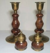 Vintage Pair Of Wooden/brass Candle Sticks And Matching Salt And Pepper Shakers