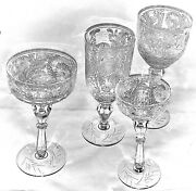 Antique Crystal Stemware- 4 Glasses In Each Style Except 3 Champagnes Stems