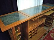Expandable Vintage Liquor Cabinet Exotic Hand Carved Bar W/ Marble Counter
