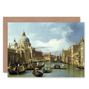 Canaletto The Entrance To Grand Canal Venice Painting Blank Greeting Card