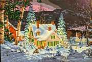 Winter Cottage In Snow Trees Wall Painting. Handmade Acrylic/oil Painting