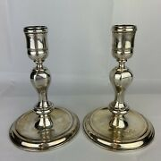 Early 20th Century Pair Of Sterling Silver And Co Candlesticks H 14.5cm