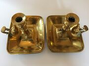 Pair Of Antique Georgian Brass Chambersticks. Good Condition And Lovely Colour.