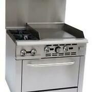 Falcon Food Service 36 2 Burner Gas Range W/ 24 Right Side Griddle And Oven