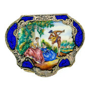 Large Antique Detailed Enamel Hand Painting Engraved Silver Makeup Or Powder Box