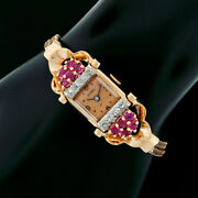 Vintage Retro Cypres Rose Gold Ruby And Diamond Mechanical Wind Swiss Wrist Watch