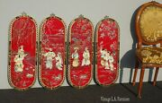 Set Of Four Vintage Mid Century Oriental Asian Wall Panel Pictures