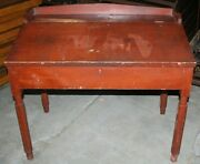 Red, Antique, Primitive, Slant Top Desk - Painted Pine - Early American