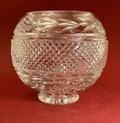 Vintage Crystal Clear Diamond And Leaves Cut Glass Round Globe-shape Bowl / Vase