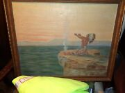 Antique 19thc Western American Oc-painting Of Indian Chief Gilt Frame Nr
