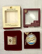 Lot Of 2 Baldwin Brass Christmas Ornaments - Wright Bros, Card