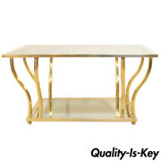 Italian Modern Brass And Glass Hollywood Regency Sculptural 2 Tier Coffee Table