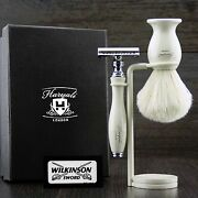 Vintage Double Edge Safety Shaving Razor With Badger Hair Shaving Brush And Stand