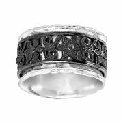 Silpada And039laceleafand039 Floral Band Ring In Sterling Silver And Black Rhodium Plate