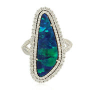 Memorial Day Sale 18k White Gold Diamond Natural Opal Cocktail Ring Jewelry