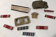 Us Wwii Military Medal Belt Buckles Pins Lot 11 Pcs Navy Marines Named
