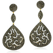 Pave Diamond 18k Gold 925 Sterling Silver Antique Look Dangle Earrings Jewelry