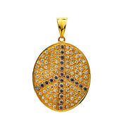 14kt Solid Gold 2.2ct Pave Diamond Peace Sign Pendant Indian Ethnic Look Jewelry