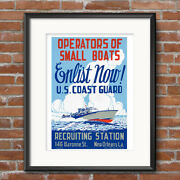 United States Coast Guard Recruiting Poster Enlist Join Wwii Print Gift 578
