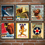 Us Air Force Set Of 6 Poster Print Gift Recruiting Join Wall Art Decor Wwii 1452