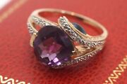 Incredible Nm Designer 14k Gold Round Amethyst And Teardrop Blue Topaz Ring
