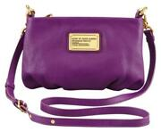 Marc Jacobs Classic Q Percy Crossbody Clutch Leather Bag Violet Purple Pink
