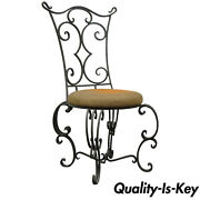 Vintage French Art Nouveau Style Hand Forged Scrolling Wrought Iron Side Chair
