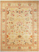 9x12 Hand-knotted Lahore Carpet Oriental Beige Fine Wool Area Rug D32627