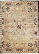 9x12 Hand-knotted Lahore Carpet Oriental Black Fine Wool Area Rug D40526