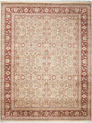 9x12 Hand-knotted Lahore Carpet Oriental Beige Fine Wool Area Rug D39081